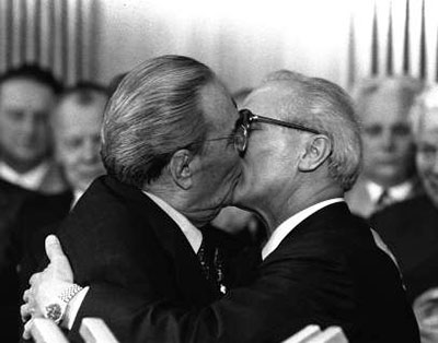 Leonid Brezhnev and East German President Erich Honecker