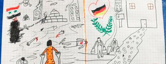 El dibujo que el niño sirio ha regalado a la policía alemana en agradecimiento por haberlo acogido @bpol_by